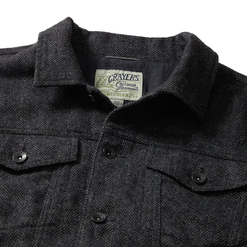 Tweedy Wool Trucker Jacket - Charcoal