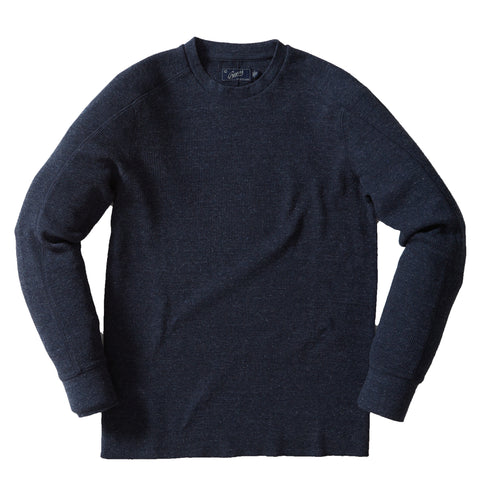 Madison Jaspe Loose Knit Henley  - Forged Iron