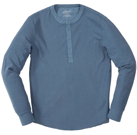 Campesina Double Cloth Thermal Henley - Blue Mirage