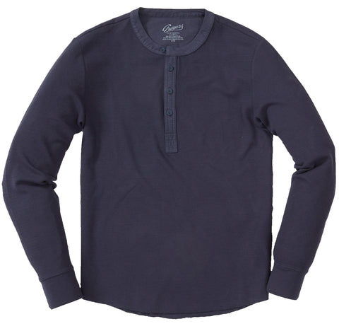 Campesina Double Cloth Thermal Henley - Ombre Blue