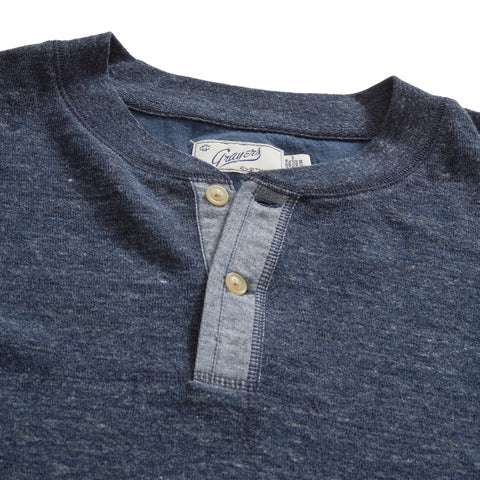 New Windsor Double Cloth Henley - Navy Heather