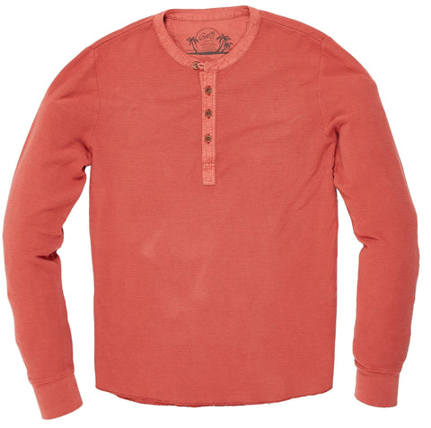 Campesina Double Cloth Thermal Henley - Mineral Red-Grayers