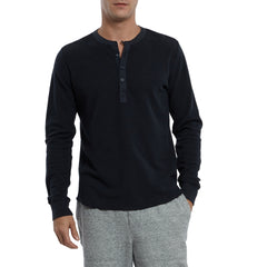 Campesina Double Cloth Thermal Henley - Vulcan Navy