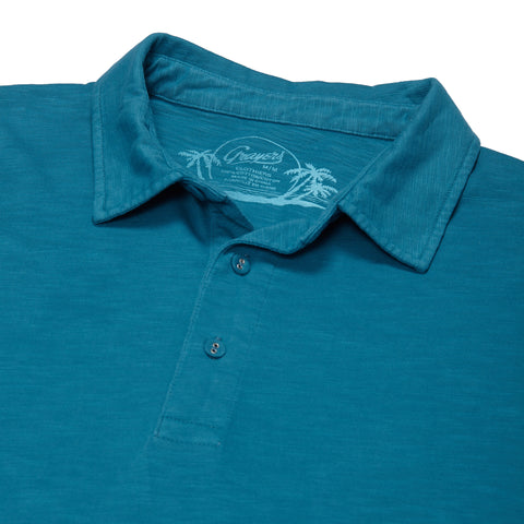 Madison Jaspe Loose Knit Polo - Turquoise-Grayers