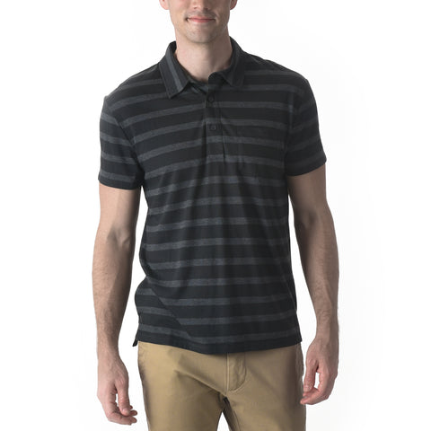 Hastings Stripe Polo SMP - Black & Gray
