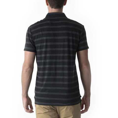 Hastings Stripe Polo - Black & Gray