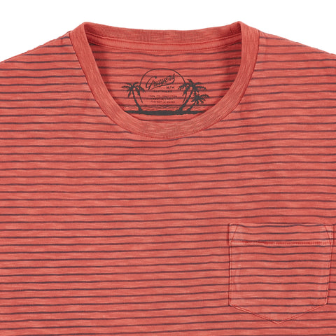 Malaga Cove Stripe Tee - Mineral Red-Grayers