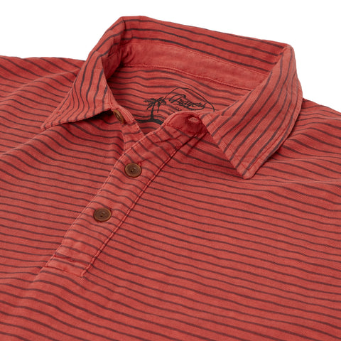 Malaga Cove Stripe Polo - Mineral Red