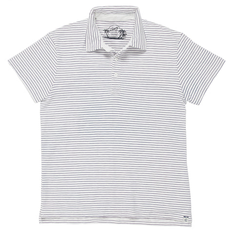 Malaga Cove Stripe Polo - Antique White