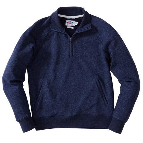 Palmer Athletic Fleece Zip Mock - Navy Marl