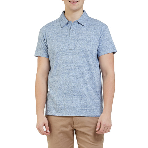 Hartford Slub Nep Jersey Polo - Light Blue Denim-Grayers