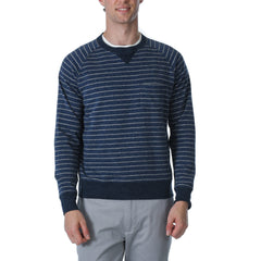 Palmer Athletic Fleece Stripe Crew - Navy/Gray Heather-Grayers