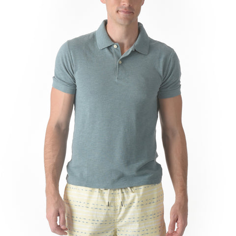 Marlowe Slim Fit Slub Pique Polo - Green Heather