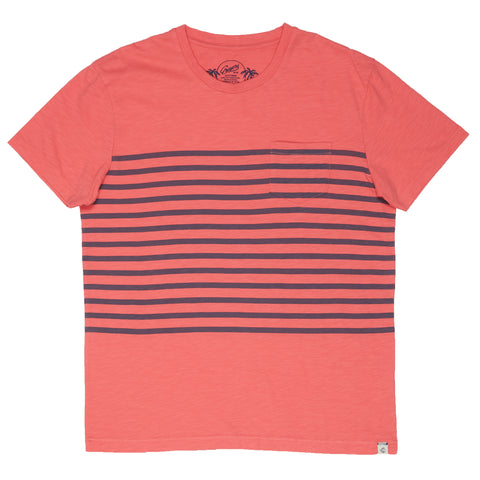 Breton Stripe Tee - Navy Print on Faded Red-Grayers