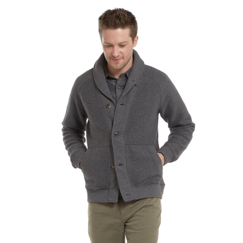 San Remo Reverse Loop Shawl Cardigan - Charcoal Heather