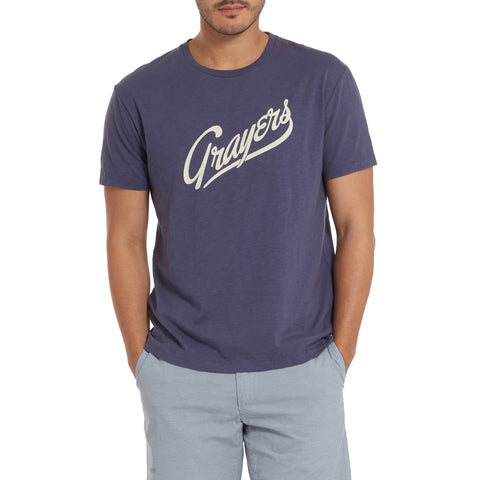 Grayers Print Tee - Night Shadow Blue