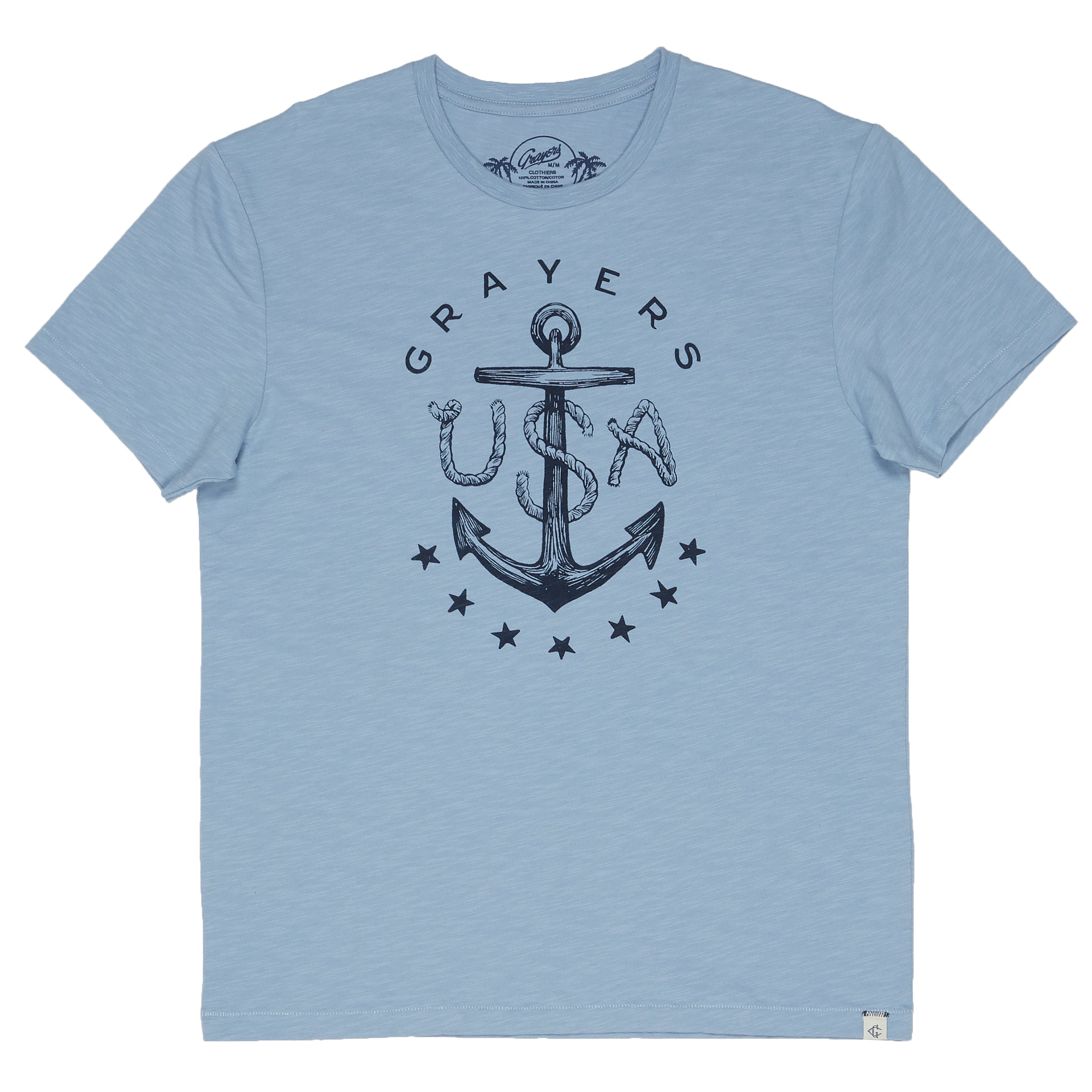 Anchor Print Tee - Ashley Blue