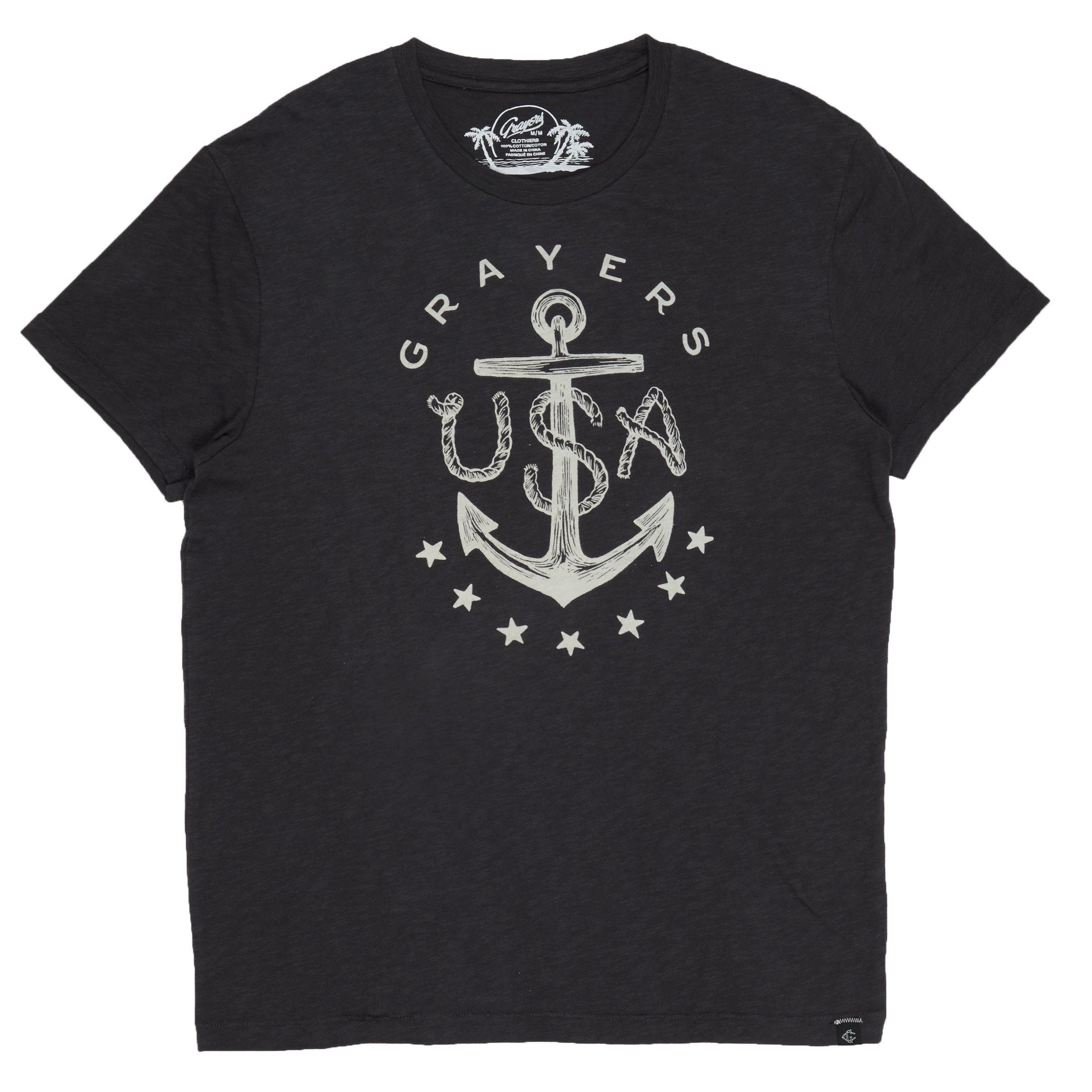 Anchor Print Tee - Forged Iron