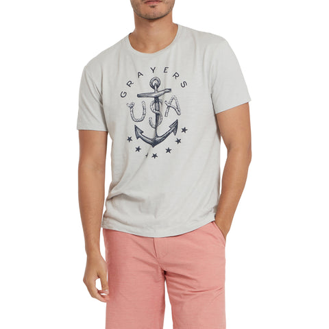 Anchor Print Tee - Gray Violet