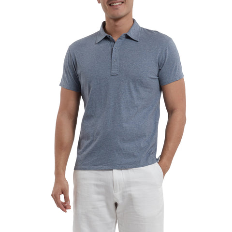 Hartford Nep Jersey Polo - Insignia Blue-Grayers