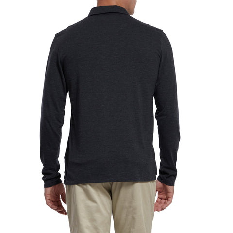 Drake Long Sleeve Micro Stripe Polo - Jet Black-Grayers