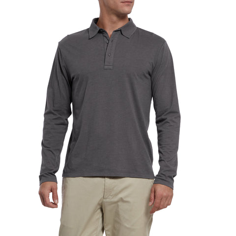 Drake Long Sleeve Micro Stripe Polo - Charcoal-Grayers