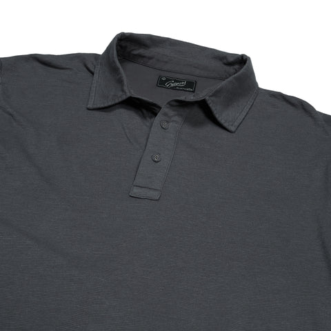 Drake Long Sleeve Micro Stripe Polo - Charcoal