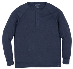 Chelsea Raglan Sleeve Double Knit Henley - India Ink