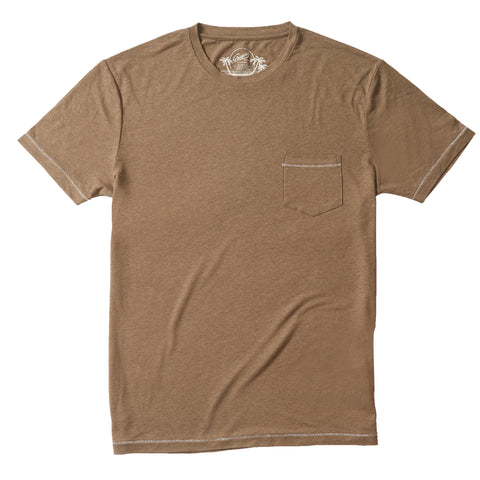 Safari Linen Blend Pocket Tee - Dusty Olive