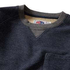 Brawny Loop Back Crew Neck - Denim Blue