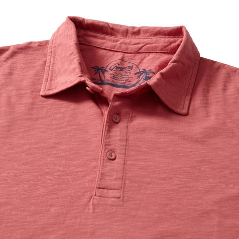 Madison Jaspe Loose Knit Polo - Dusty Cedar