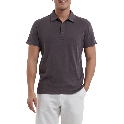 Madison Jaspe Loose Knit Polo - Forged Iron-Grayers