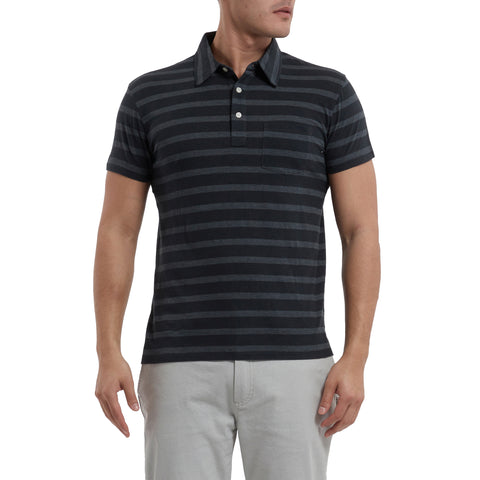 SS Tonal Stripe Polo - Black-Grayers