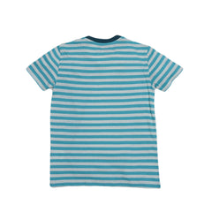 Boy's Cotton Linen Feeder Stripe - Turquoise Stripe