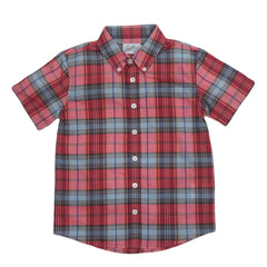 Boy's Orleigh Summer Weight Poplin - Red Blue Plaid-Grayers