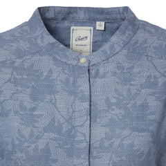 Tracy Shirt Dress - Blue Chambray Camo Leaf Print