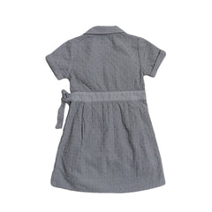 Girl's Embroidery Wrap Dress - Gray-Grayers