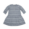 Girl's 3/4 Sleeve Drop Waist Dress - Cream Stripe