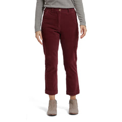 Tracy Slim Ankle Stretch Corduroy Pants - Burgundy