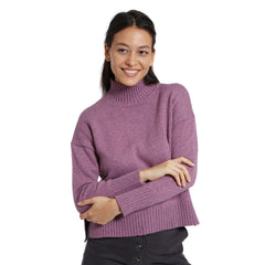 Turtle Neck Drop Shoulder Sweater - Damson