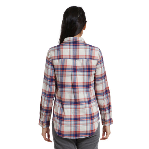 Jane Slim Fit Stretch Flannel Shirt - Cream Navy Red