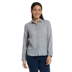 Priscilla Double Cloth Slim Fit Shirt - Light Gray Heather