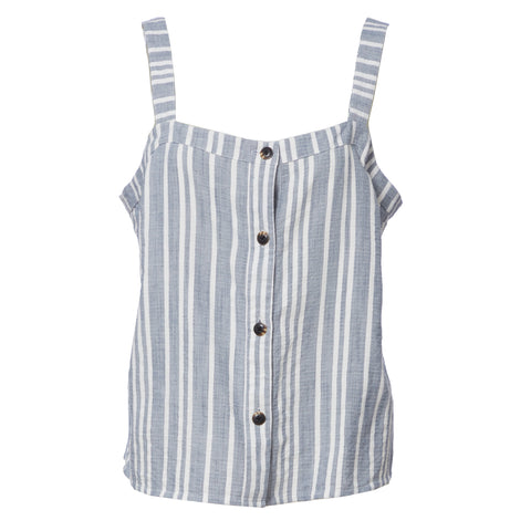 Summer Stripe Button Cami - Blue White Stripe