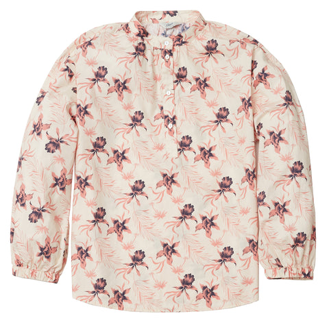 Stacy Popover Blouse - Cream Floral