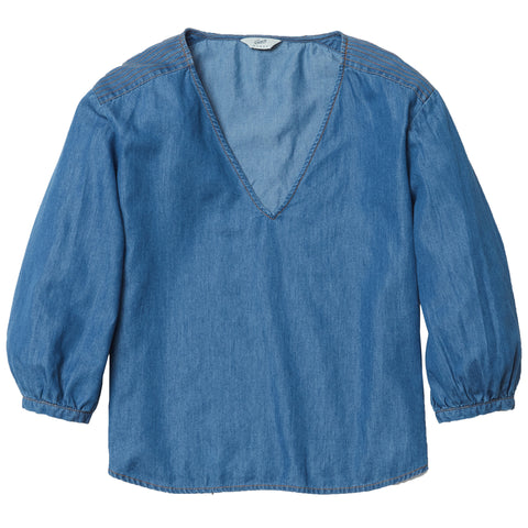 Indigo V Neck Blouse - Blue