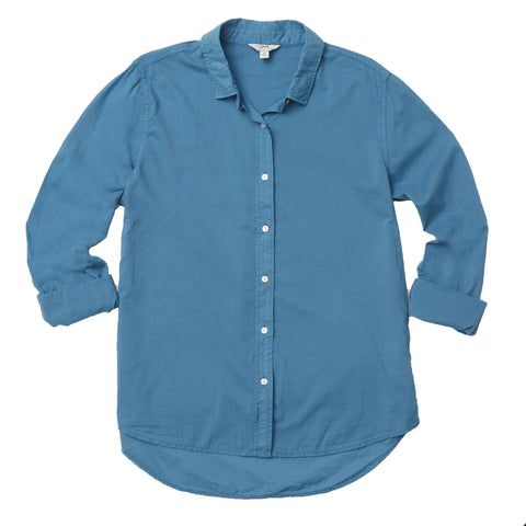 Samara Tie Front Shirt - Blue Cream