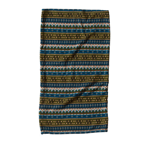 Traditional Geometric Print Neck Gaiter - Teal Olive Multi