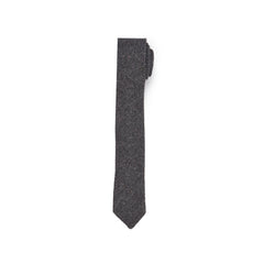 Herringbone Wool Tie - Charcoal Herringbone