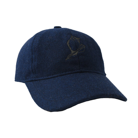 Owl Wool Baseball Cap - Navy