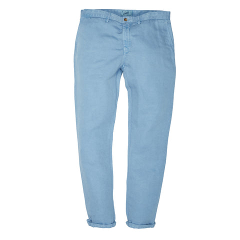 Bermuda Cotton Linen Stretch Slim Fit Pants - Dusty Blue-Grayers